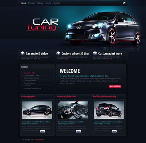 template tuning car tuning psd template 29034