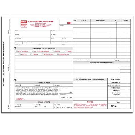 Automotive Repair Invoice Work Order Estimates Designsnprint Motorcycle Invoice Template