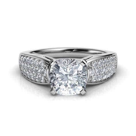 wide band cushion cut cathedral engagement ring