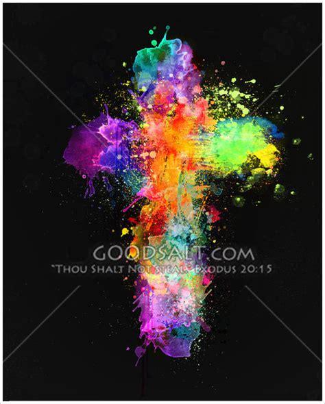 colorful crosses cross splatter
