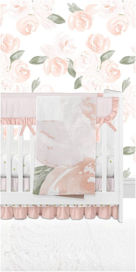 Salmon Crib Bedding Baby Crib Bedding Blush Pink Salmon Gold Hearts Removable Wallpaper Watercolor
