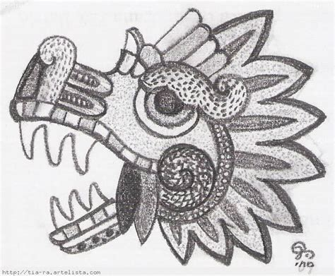 imagenes aztecas mayas quetzalcoatl serpiente emplumada dibujo a lapiz imagui