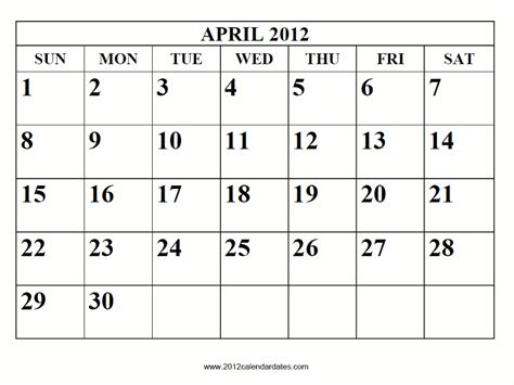 April 2012 Calendar Calendar 2012 April