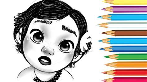 moana boat drawing how to draw baby moana youtube