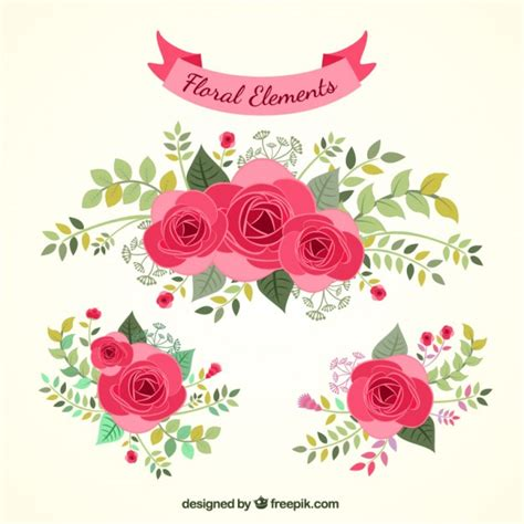 flower design element vector illustration free vector hand drawn floral elements vector free download