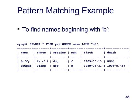 pattern matching sed intro to my sql