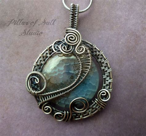 Handmade Wire Jewelry - antiqued silver pendant wire wrapped jewelry handmade
