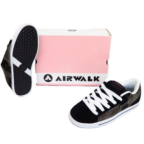 black leather airwalk lace up skater trainers