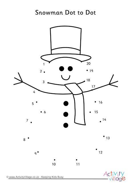 christmas jigsaw dot to dots sheet for kids snowman dot to dot