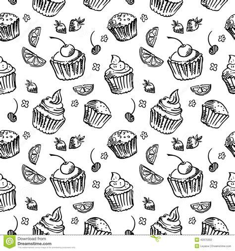 seamless pattern sketch seamless pattern sketch cupcake black and white stock