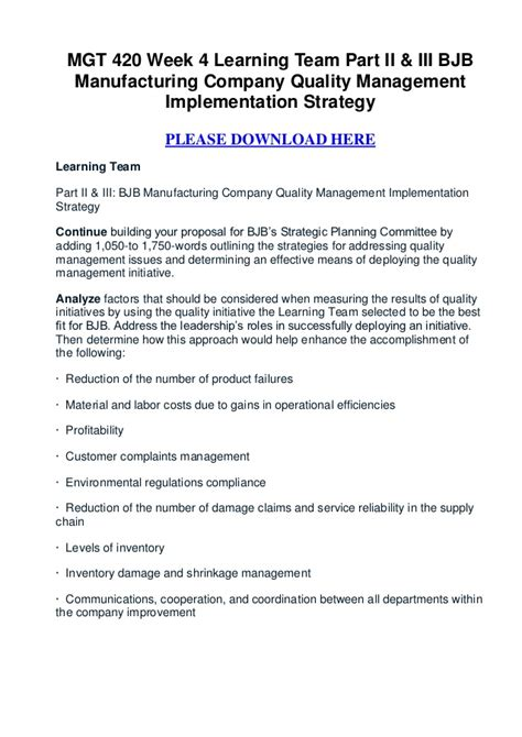 Mba Total Quality Management Syllabus by Mgt 420 Week 4 Learning Team Part Ii Iii Bjb