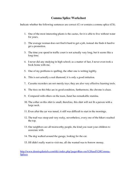 Comma Splice Worksheet