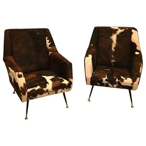 Modern Cowhide Chairs - pair of italian mid century modern club chairs in cowhide