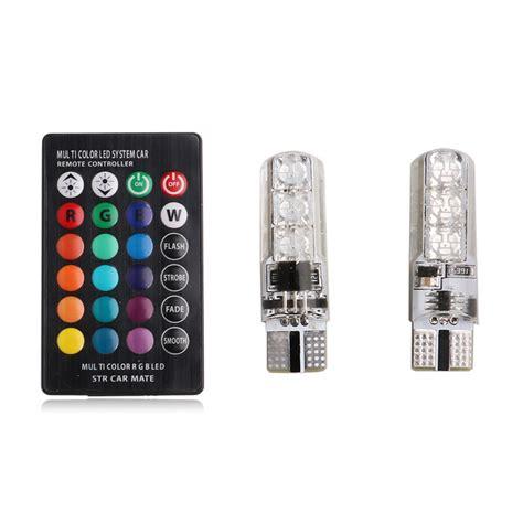 Lu Led T10 Rgb Rgb 2x t10 5050 led rgb multi color interior wedge side light strobe remote cad 3 42