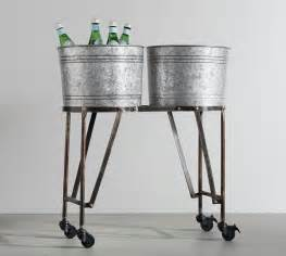 galvanized metal beverage tub with stand pottery barn