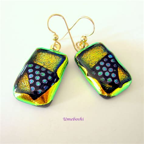 Handmade Fused Glass - all that jazz dotted handmade dichroic fused glass dangle