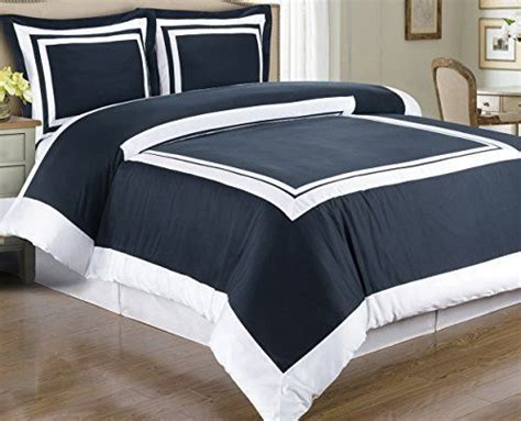 Hotel Style Duvet Covers modern hotel style navy blue and white 100 cotton bedding duvet cover and shams set