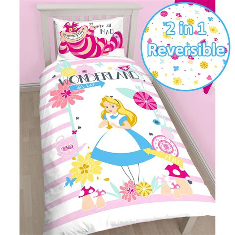 alice in wonderland bed set alice in wonderland curious single duvet cover set 100