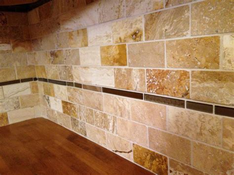 brown glass travertine mix backsplash tile great home decor uniqueness travertine tile