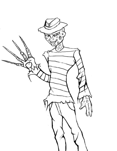 freddy kruger cartoon coloring page coloring pages