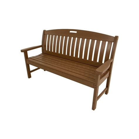 all weather garden bench hanover avalon 60 in teak all weather patio porch bench