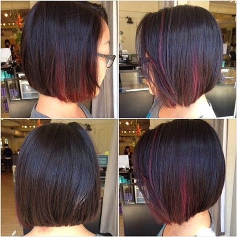 bobs with slight stack bob with slight stack slight a line bob with panels of red