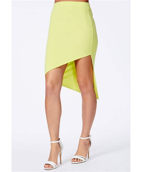 missguided pallene lime asymmetric midi skirt in green lyst