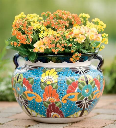 Mexican Planters Outdoor by Unique Handcrafted Colorful Ceramic Talavera Planter