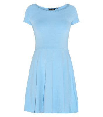 Light Blue Skater Dress by Light Blue Trim Cap Sleeve Skater Dress Clothes