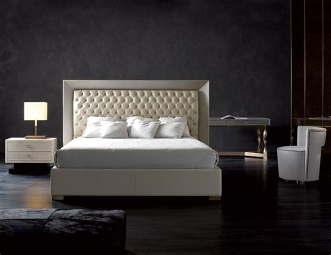 Beds Furniture by Nella Vetrina Rugiano Kenya 2065 Upholstered Bed In Beige