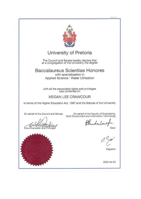 ml crawcour bsc hons degree from the of pretoria