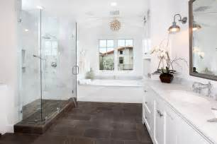 Tile for shower floor in bathroom traditional with glass shower brown