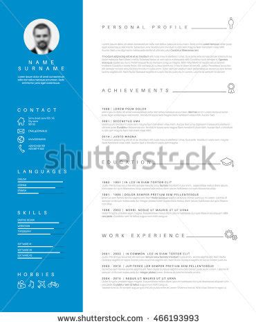 cv nice design vector minimalist cv resume template nice stock vector