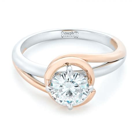 custom two tone solitaire engagement ring 102407