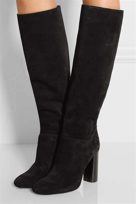 lanvin suede knee boots in black lyst