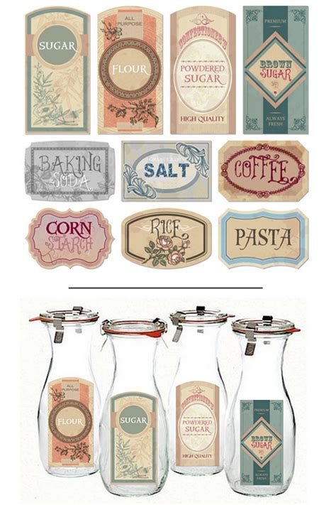 Cute Kitchen Canister Sets vintage farmhouse printable pantry labels printable decor