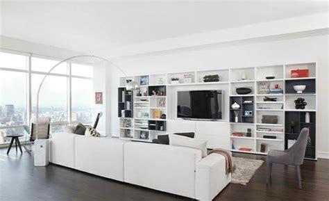 schlafzimmer im wohnzimmer integrieren tv wohnwand im modernen wohnzimmer 15 inspirierende