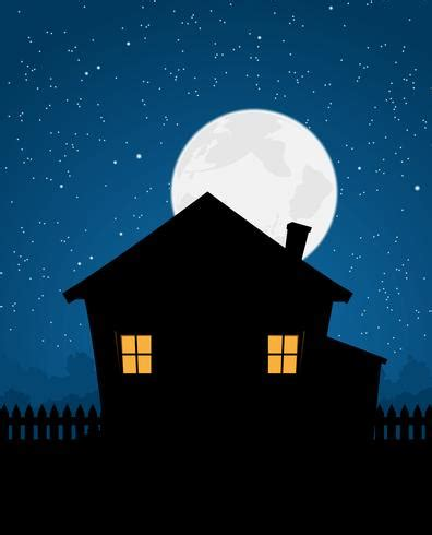 house silhouette  starry night   vectors