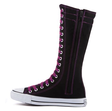 womens knee high canvas boots casual sneakers lace up