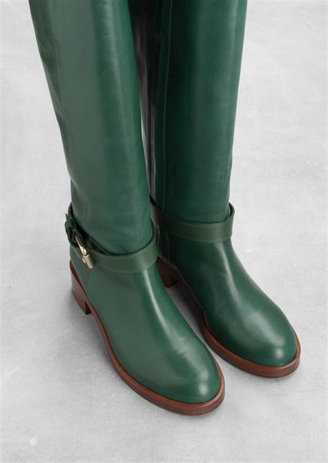 green boots other stories leather knee boots in green lyst