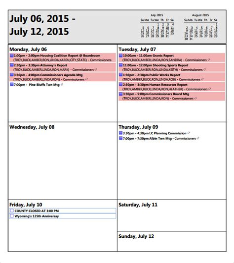 weekly agenda sle 9 documents pdf word