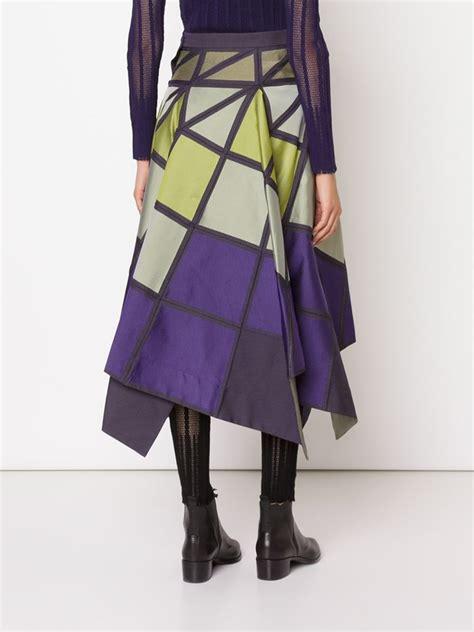 geometric pattern skirt lyst issey miyake geometric pattern full skirt