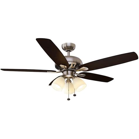 hugger 52 in led brushed nickel ceiling fan home decorators collection mercer 52 in led indoor