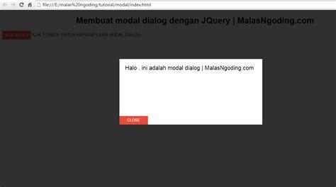 cara membuat index html membuat modal dialog dengan jquery tanpa plugin malas