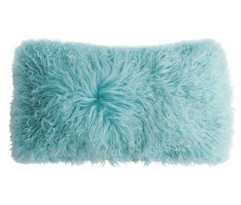 Lambskin Pillow by Tibetan Lambskin Curly Fur Kidney Pillows Robin S Egg Blue