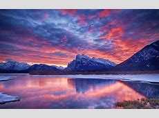 Winter, snow, lake, sky, clouds, sunset, glow, mountain ... Unique Girly Backgrounds