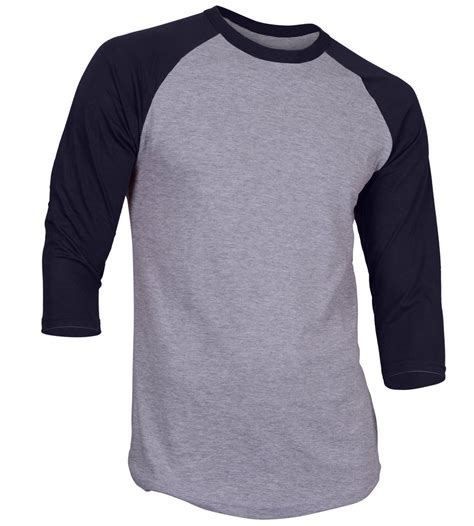 3 4 sleeve plain baseball raglan t shirt mens sports