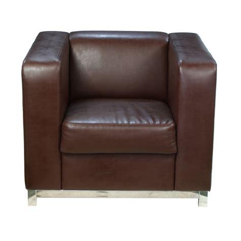 cube armchair abbey retro modernist chrome cube plain brown faux leather armchair easy chair x ebay