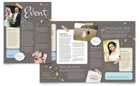 event newsletter template wedding planner newsletter template design