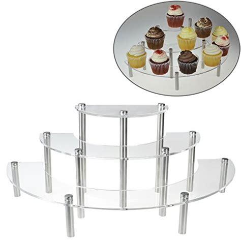 Spice Rack Risers Mygift 174 Clear Acrylic 3 Tier Half Moon Cupcake Shelves